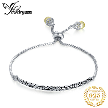 JewelryPalace мяч конец благоприятный облака выгравированы стерлингового серебра 925 желтый груша форма CZ регулируемый браслет для женщин