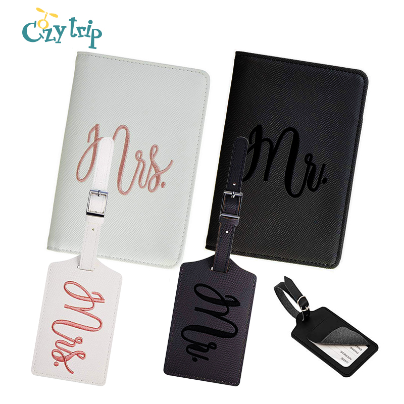 Honeymoon Passport Wallets With Tags Travel Mr & Mrs Embroidered Passport Holder Slim Waterproof Couple Passport Cover