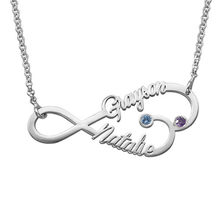 AIYANISHI Fashion925 Silver Personalized Name Necklaces Names Infinite Birthstones Necklaces Customized Name Jewelry Women Gifts