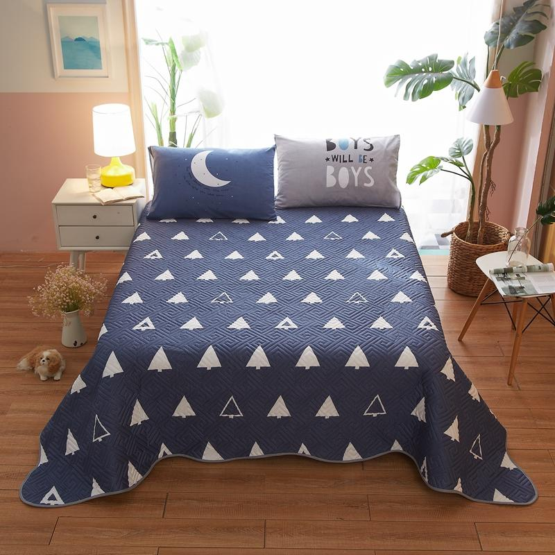 1 Pc Bed Cover+2pcs Pillowcases Bedding Set Cotton Bed Cover Blue White Small Tree Bedding Blue Bedspreads Bed For Adults