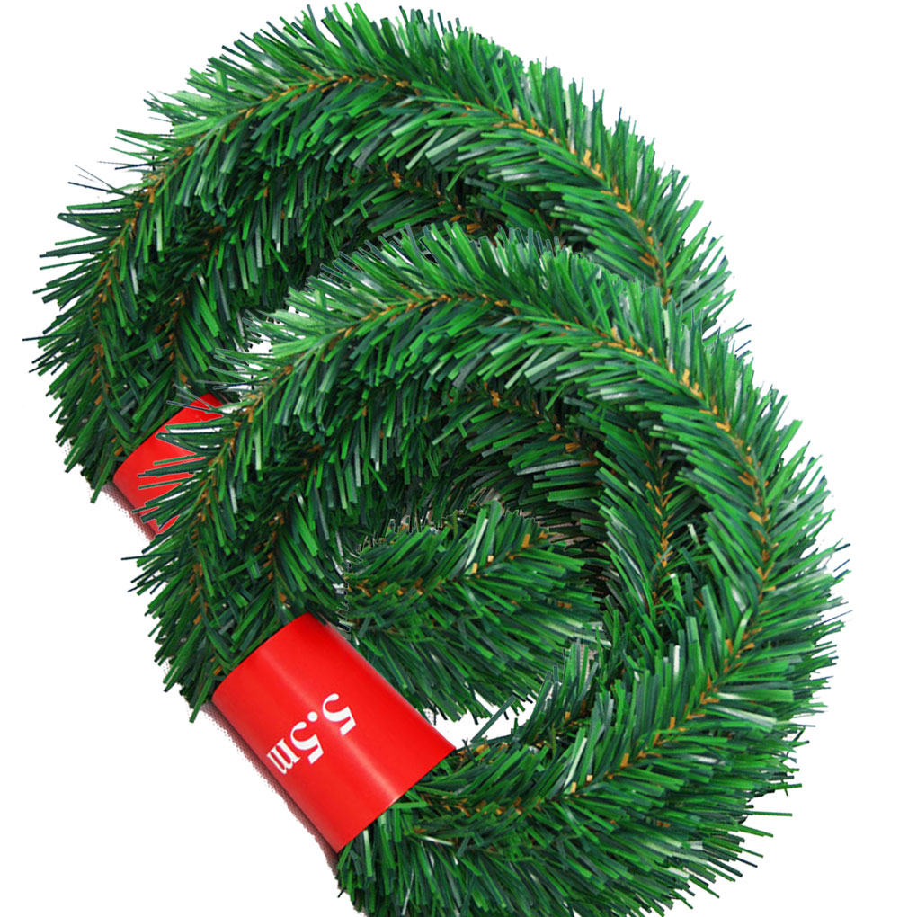 New 5.5m Pine Christmas Garland Decorative Green Christmas Garland Artificial Xmas Tree Rattan Banner Decoration