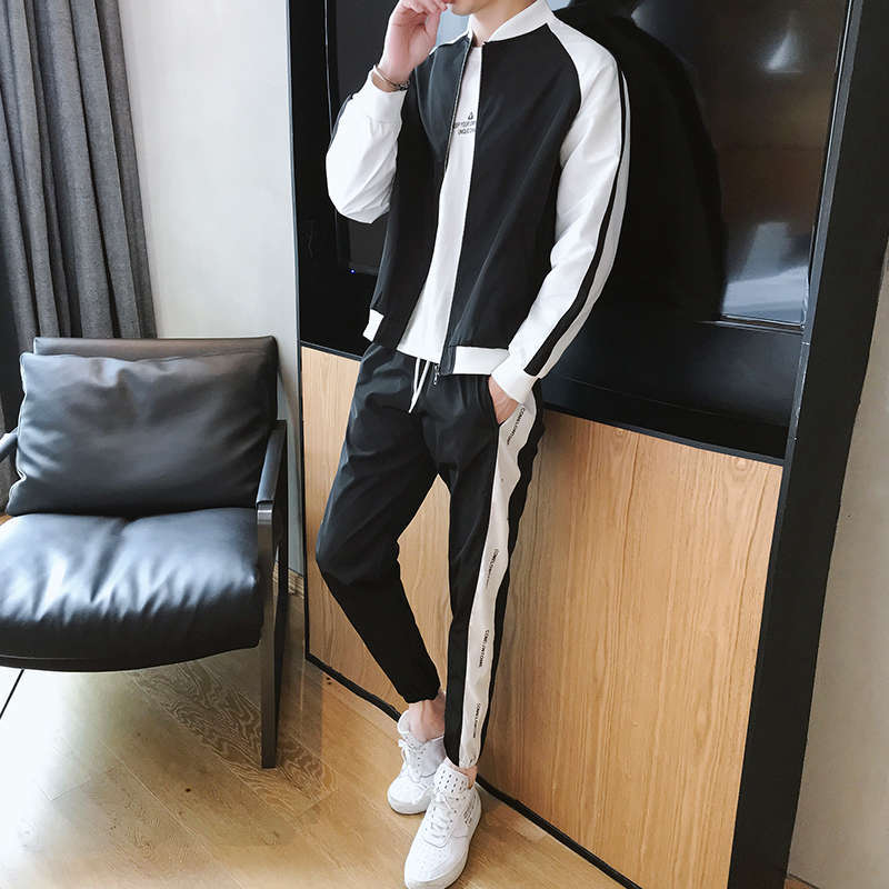 Men's Leisure Sports Suit Stand Collar 2019 Spring And Autumn Teenager Men's New Style Fashion Men'S Wear