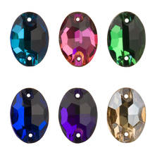 YANRUO 3210 Oval AAAAA Flat Back DIY Sew On Rhinestones Glass Strass Stones And Crystals For Dress Making Needlework