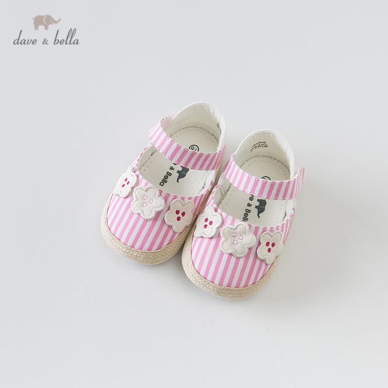 DB12848 Dave Bella spring baby girl striped shoes new born girl casual shoes floral barnd shoes