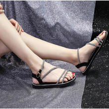 Flat with Sandals Women quality Crystal Female Shoes Flat Beach Shoes For Ladies Sandal Casual Women Sandals Summer hot sales real picture white crystal women sandals zipper women shoes flats casual vacation shoes women wedding shoes flat summer shoes
