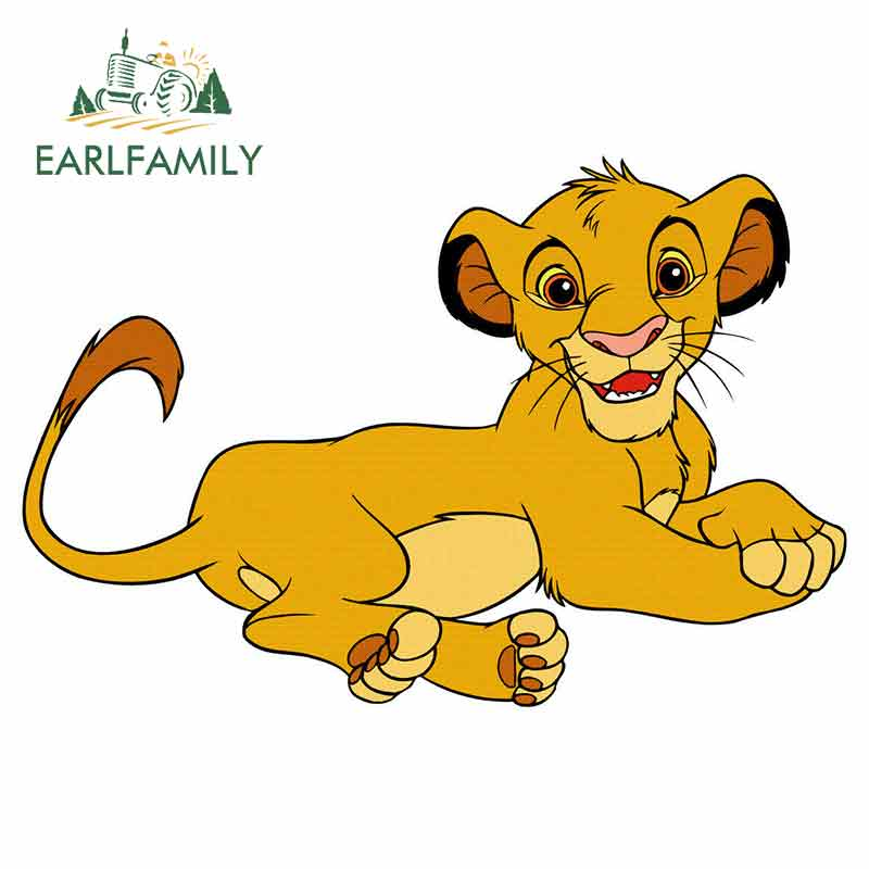 EARLFAMILY 13cm X 8.6cm For Lion King Simba Graffiti Sticker DIY Anime Personality Creative Stickers Vinyl Car Wrap