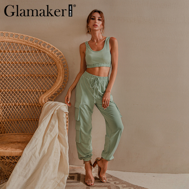 Glamaker Green sleeveless fitness suit set women crop top and pant two piece set casual fashion pocket ladies autumn tracksuit 2