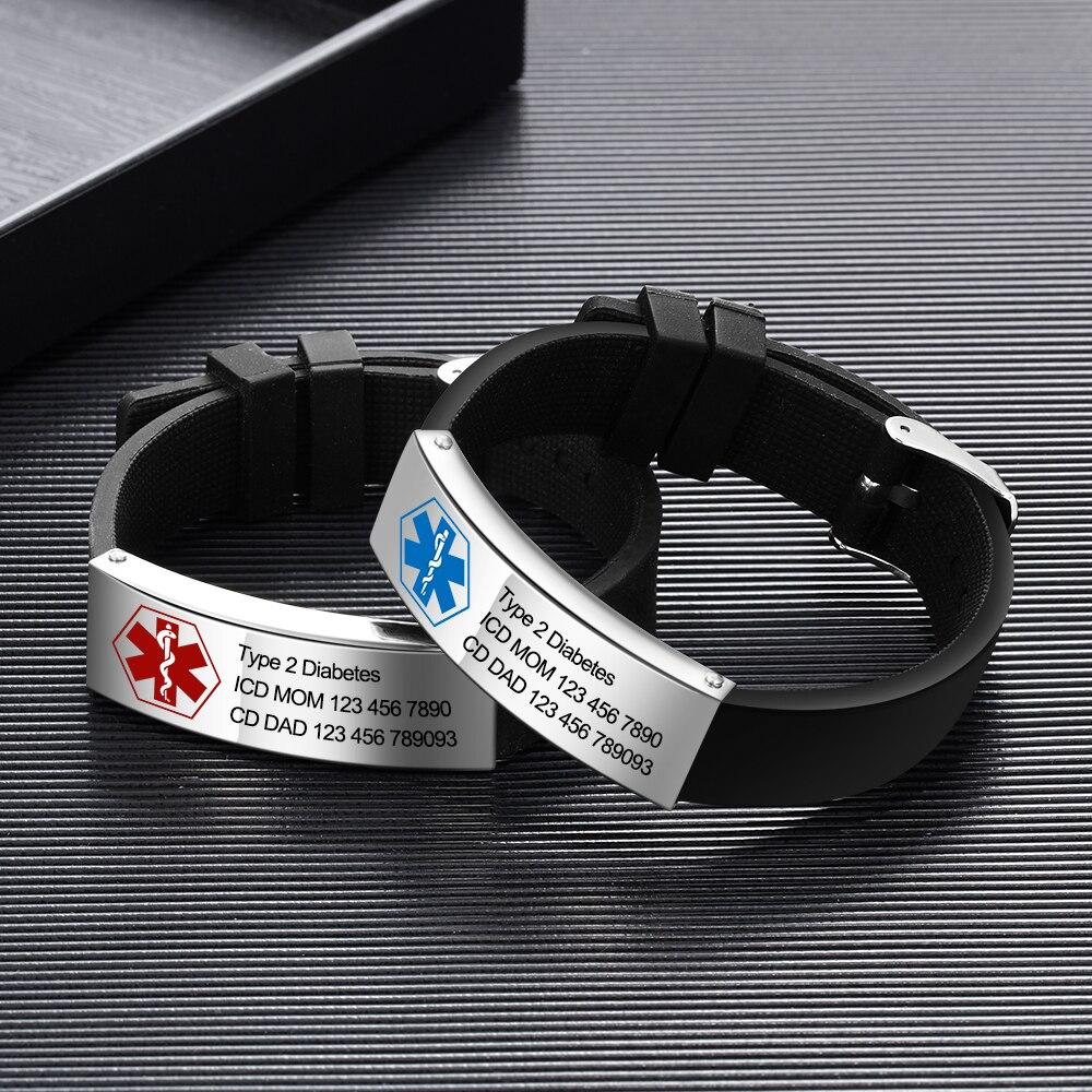 Personalized Engraving Emergency Custom Medical Alert ID Bracelet Men Women