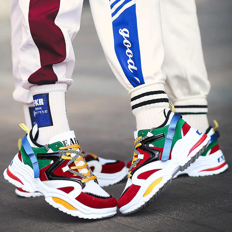 Harajuku Herfst Vintage Sneakers Mannen Casual Schoenen Ademend Mesh Mannen Comfortabele Mode Tenis Masculino Adulto Sneakers 2019