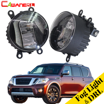Cawanerl 2 X Car Styling LED Fog Light Daytime Running Lamp DRL White 12V For Nissan Armada Closed Off-Road Vehicle 2003-2008