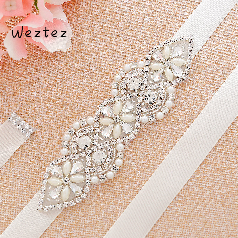 Silver Crystal Wedding Belt Rhinestones Bridal Belt Pearls Wedding Sash For Bridal Bridesmaid Dresses SD112S
