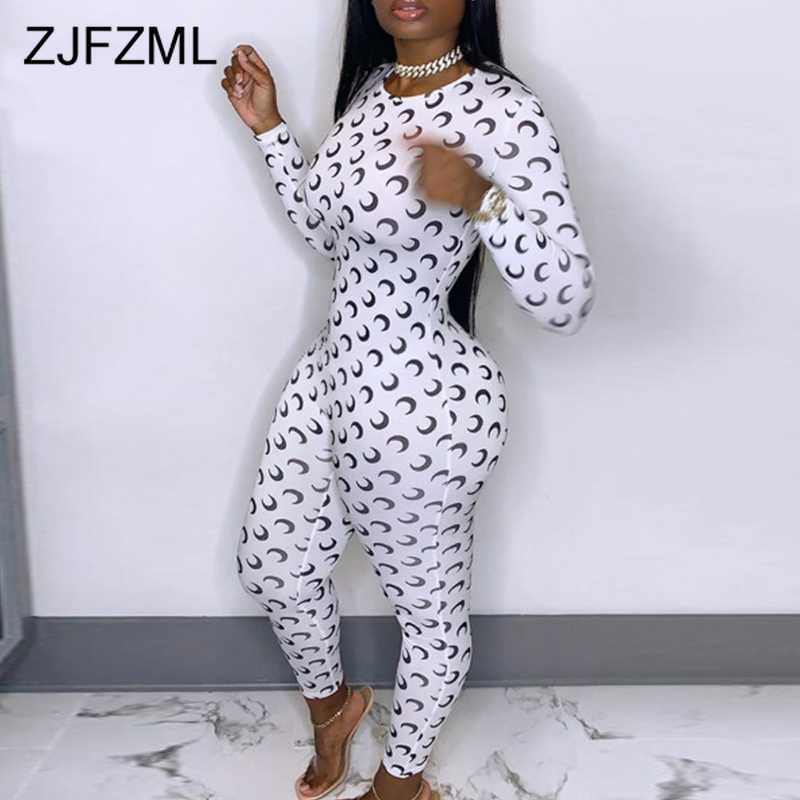 Black White Moons Print Bodycon Jumpsuit For Women Round Neck Long Sleeve Skinny Catsuit Sprint High Waist Slim Fit Party Romper