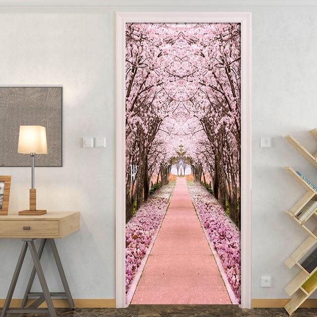 Фото наклейка на дверь из пвх самоклеящаяся водонепроницаемая с розовым цена