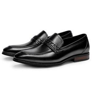 Image 4 - أحذية رجالي رسمية من phenkangأحذية أكسفورد من الجلد الطبيعي للرجال باللون الأسود 2020 أحذية للارتداء أحذية للزفاف أحذية جلدية من slipon