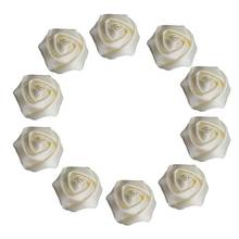 10piece/lot 3.5cm Ivory Satin Rose Artificial Ribbon Flower For Make Bridal Bridesmaid Wedding Bouquet Decoration