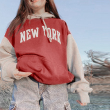 Letter Print Women's Hoodies Patchwork Loose Long Sleeve Casual Hooded Sweatshirts Woman 2021 Autumn New Fashion Top Female