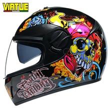 Casco integrale modello teschio casco Moto rcycle sicurezza con lente racing casco moto casco capacete