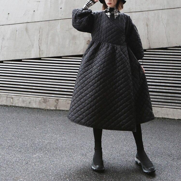 2019 New Oversize Winter Coat Women Vintage Puff Sleeve Plaid Wrap Parka Korean Black Cotton Jacket Autumn Overcoat Streetwear