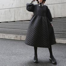 2020 New Oversize Women Winter Coat Vintage Puff Sleeve Plaid Wrap Parka Korean Black Cotton Jacket Autumn Overcoat Streetwear