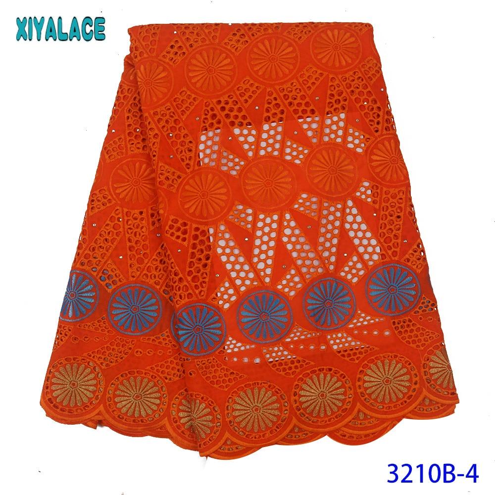 Latest Cotton Lace White Swiss Voile Cotton Lace Fabric High Quality Fabrics Laces With Stones For Dresses Burnt Orange KS3210B