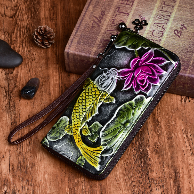 New Genuine  Embossed Leather Women Long Wallet Floral Fish Pattern Handy Bag Chinese Style Clutch Zipper Bag Female Wrist Purse