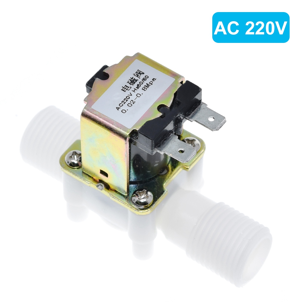 "1/2"" Plastic Solenoid Valve 12V 24V 220V Magnetic Washing Machine Dispenser Drinking Water Pneumatic Pressure Controller Switch"