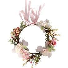 Crianças headdress grinalda bandana fita rosa arco bandana flor acessórios para o cabelo