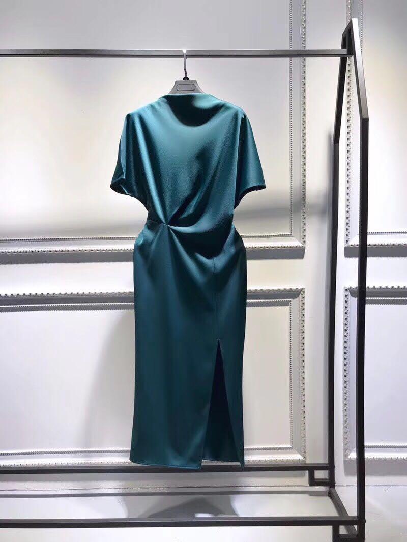 Женское вечернее платье карандаш, элегантное черное платье из ацетата с рукавом «летучая мышь», разрезом и разрезом, сезон лето 2020