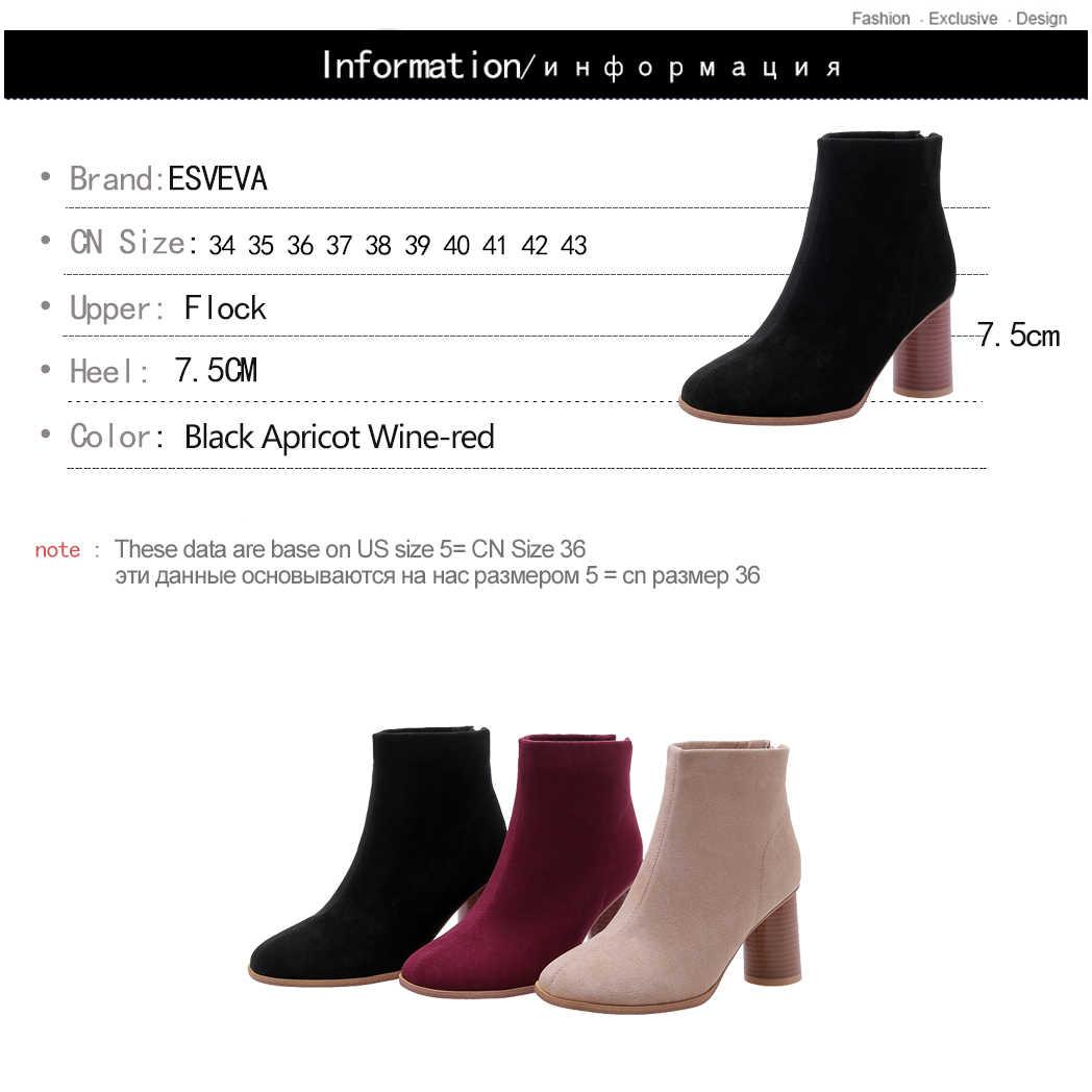 ESVEVA 2020 Sonbahar Kadın Ayakkabı Kış yarım çizmeler Kare Yüksek Topuk Fermuar Akın Sivri Burun Motosiklet Platform Çizmeler Boyutu 34- 43