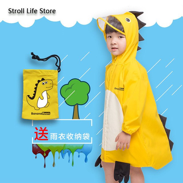 Girl Kids Raincoat Yellow Cute Old Pink Cartoon Rain Coat Jacket Long Rain Poncho Waterproof Suit  Dinosaur 2-6 Years Gift Ideas 2