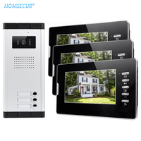 HOMSECUR 7 Wired Video Door Intercom System With Lock Release Button For 3 Apartment XC061 3+XM702 B