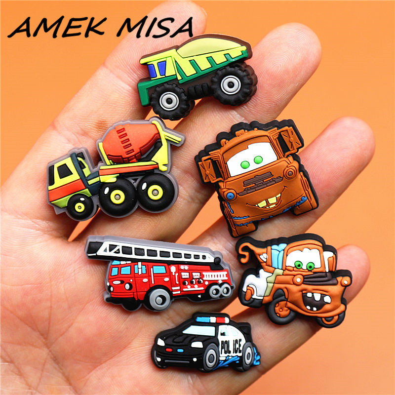 Single Sale 1pcs PVC Shoe Charms Engineering Vehicle Shoe Buckles Decorations Shoe Accessories Fit Croc JIBZ Kid's Party Gifts