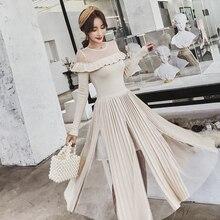 HAMALIEL/высококачественное женское трикотажное элегантное Плиссированное Платье Осень-Зима с длинным рукавом в стиле пэчворк, Сетчатое тонкое платье с оборками