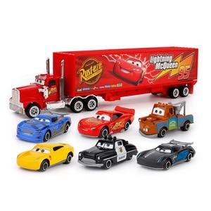Image 1 - 7Pcs/set Disney Pixar Cars 3 Lightning McQueen Jackson Storm Cruz Mater Mack Uncle Truck 1:55 Diecast Metal Car Model Boy Toy