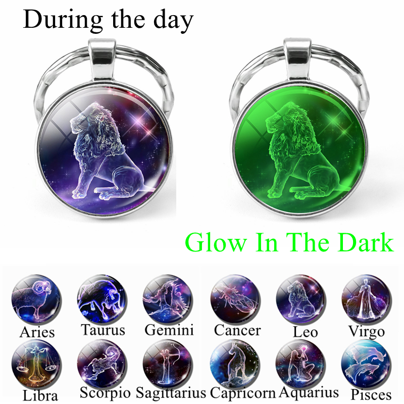 12 Constellation Keychain Luminous Glass Cabochon Jewelry Zodiac Signs Key Chain Aries Leo Taurus Libra Pendant Birthday Gift