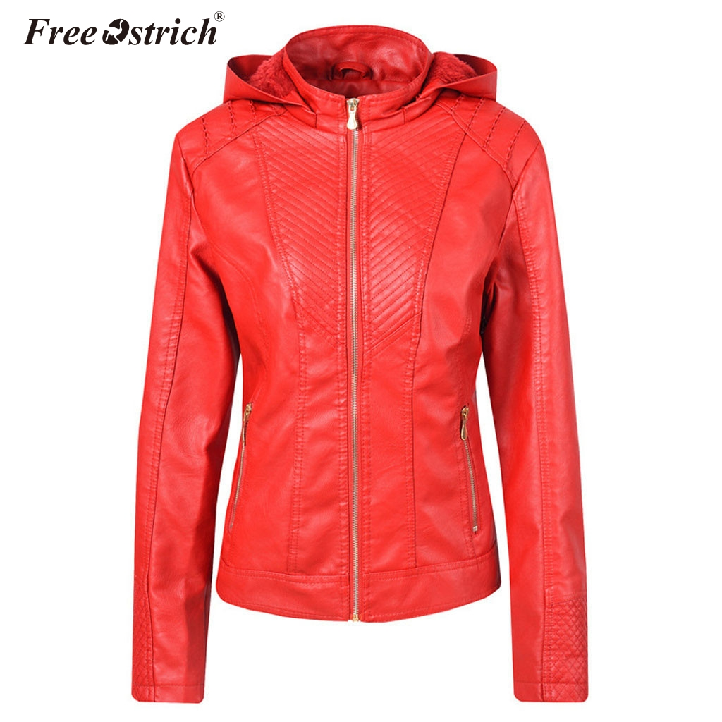 Free Ostrich 2019 Fashion Winter Faux Leather   Jacket   Women   Basic     Jackets   Hooded Slim Motorcycle   Jacket   Women Coats Female N30