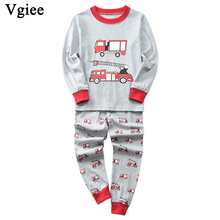 Vgiee Children Boys Girls Clothes Winter Full Cotton Unisex Crtoon Pattern for Fire Truck Baby Kids Girl Set CC635