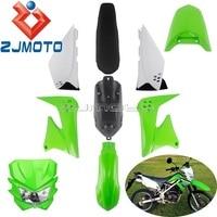 Dirt Bike Green Plastic Fairing Kit For Kawasaki KLX150 KLX150S 2009 2012 Headlight Mask Oil Tank Rear Seat Side Cover Fender
