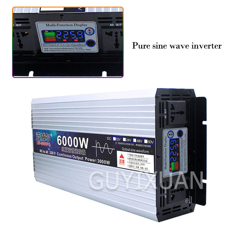 Pure Sine Wave Inverter 12V To 220V Household Digital Display High Power Inverter 2200W / 4000W / 6000W