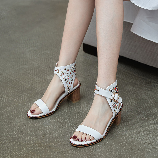 Donna in Strips White Women Sandals Summer Shoes Sexy High Thick Heels New Colorful Rivet