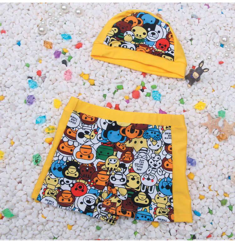 CHILDREN'S Swimsuit 2018 New Products Yellow Little Monkey Floral-Print Shorts Swim Cap Two-Piece Set BOY'S Beach Bathing Suit