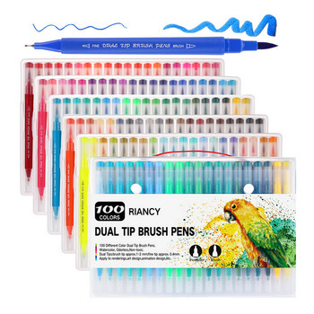 100-Color Dual-Tip Watercolor Marker Water Coloring Brush Pen Set with Triangle Handle for Kids Adults Artists Drawing Sketching