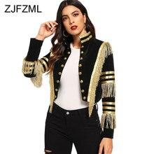 Женская короткая куртка с воротником-стойкой, модная черная Готическая двубортная куртка в полоску с металлическим блеском и бахромой, на о...