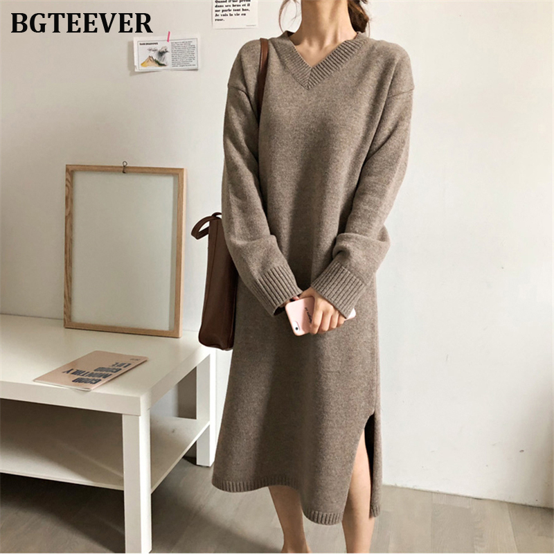 BGYEEVER Chic Oversize Thick Long Sweater Dress Women V-neck Autumn Winter Straight Sweater Dress Female Casual Loose Knit Dress