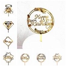 Модный Топпер для торта с днем рождения, золотой Топпер для торта на день рождения, декор для торта на свадьбу, вечерние топперы с флагом