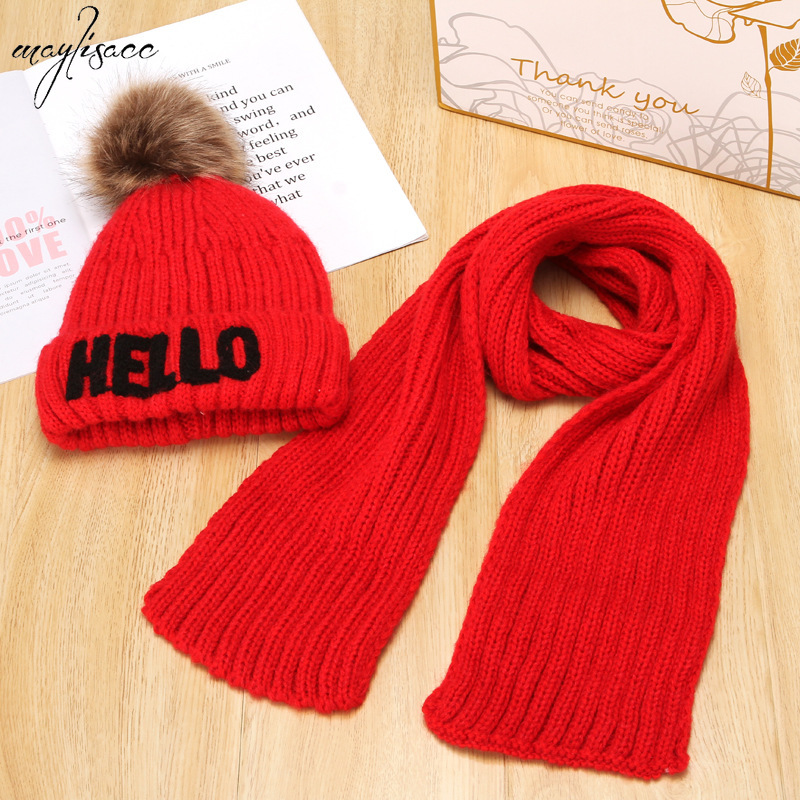 Maylisacc 2019 New Children's Hat Scarf Set Autumn And Winter 2-9 Years Old Baby Woolen Hat Scarf Suit Warm Knitted Pompom Hat
