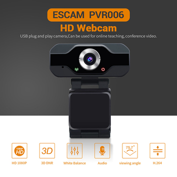 ESCAM PVR006 USB Webcam Full HD 1080P Web Camera With Noise Cancellation Microphone Skype Streaming Live Camera For Computer
