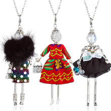 HOCOLE New Cute Doll Necklace Feather Dress Women Fashion Handmade Long Chain Girl Maxi Kids Pendant Statement Jewelry