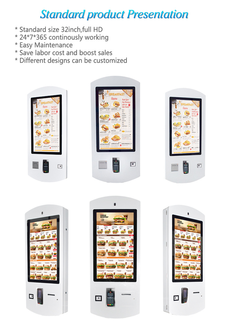 22 24 27 32 Inch Tft Lcd Touch Screen Restaurant Wifi Self Service Fast Food Ordering Kiosk