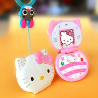 KUH T99 Flip Phone With Dual SIM LED Light 1.5 inch Screen Luxury Cartoon Cat Small Women Kids Girls Diamond Mini Cell Phone